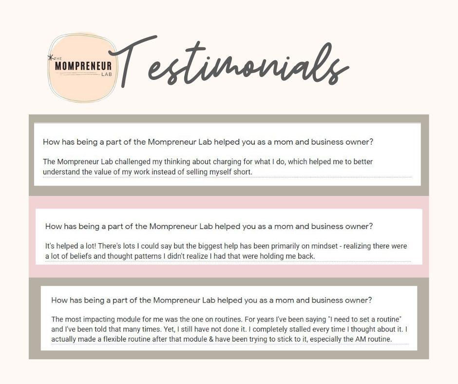 The Mompreneur Lab Testimonials
